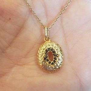 """Jewelry - 14k Gold plated Hamsa Bead Necklace 18"""""""